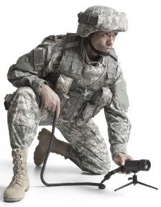 Soldier with Infrared Camera on the Ground