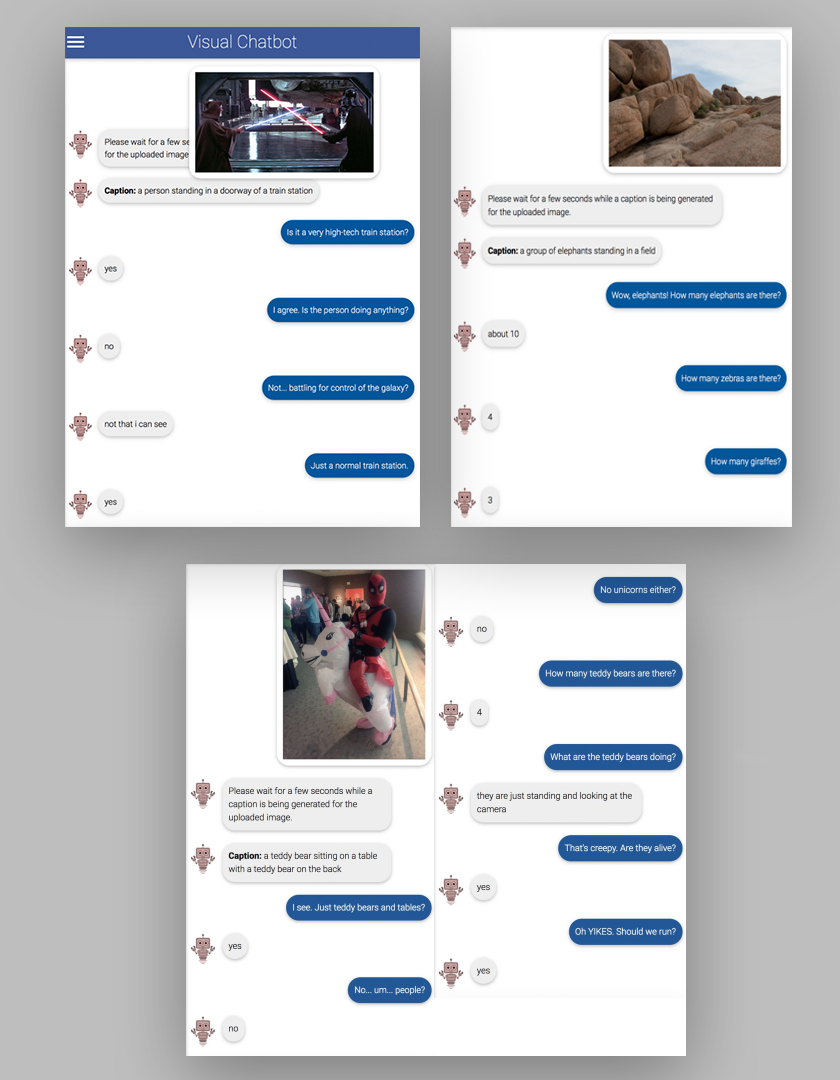 Text excerpts from conversations with a machine-learning chatbot that is describing images it is shown.